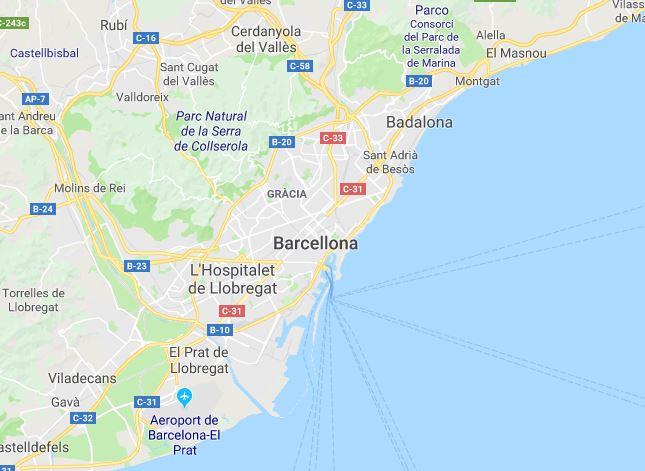 Una mappa di Barcellona